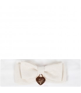 White headband for babygirl with beige bow