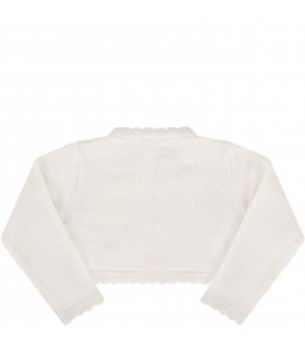 Ivory cardigan for babygirl with logo