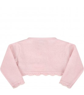 Pink cardigan for babygirl with logo