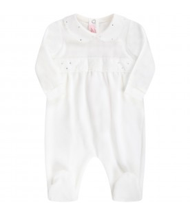 White babygrow for babygirl with logo
