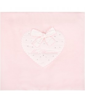 Pink blanket for babygirl with heart
