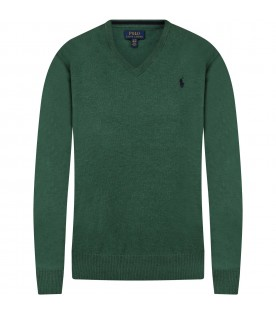 Green sweater for kids with pony logo