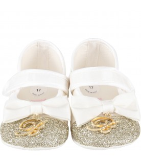 White flat shoes for babygirl with logo
