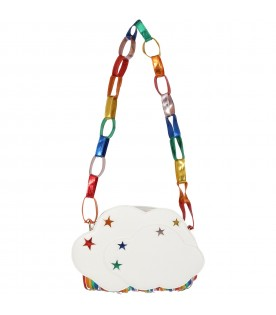 White bag for girl with colorful stars