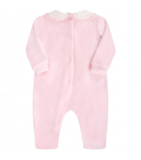 Pink babygrow for babygirl with bow