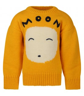 Yellow sweater for kids with moon