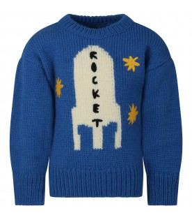 Azure sweater for boy with rocket