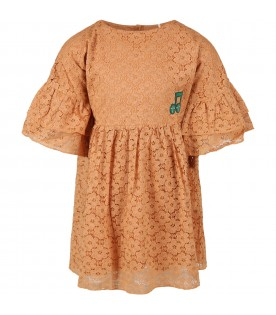 Beige dress for girl with musical note