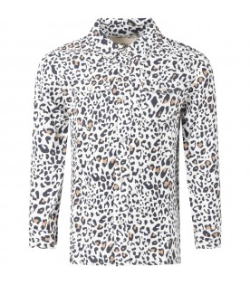 White shirt for girl with animalier prints