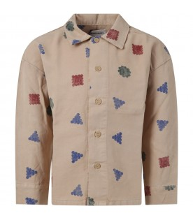 Beige shirt for boy with colorful prints