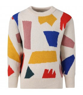 Beige sweater for kids with geometric figures