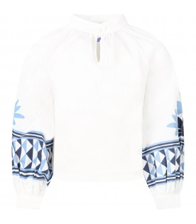 White blouse for girl with ethnic prints