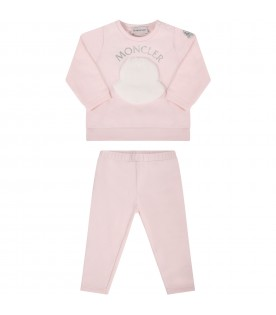 Pink suit for babygirl with iconic patch