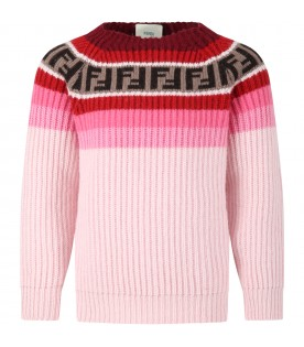 Pink sweater for girl with double FF