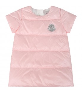 Pink dress for babygirl with silver patch