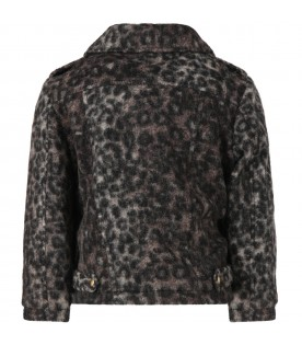 Grey jacket for girl with animalier print