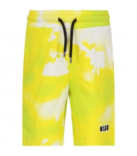 Neon yellow short for boy with logo