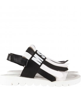 White and black sandals for girl with logo