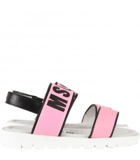 Pink  sandals for girl with logo