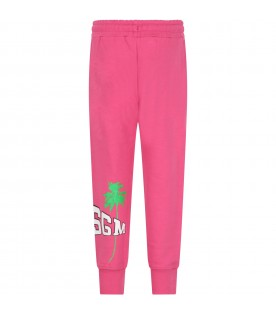 Fuchsia sweatpant for girl with logo and palm tree