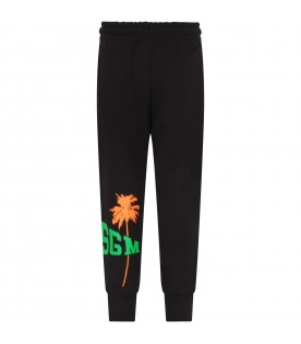 Black sweatpant for kids with logo and palm tree