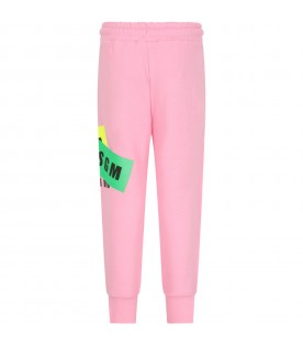 Pink sweatpant for girl with black logos