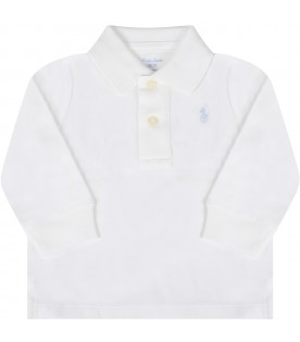 White polo shirt for babyboy with pony logo