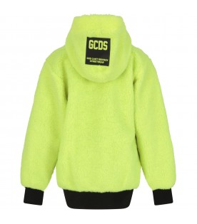 Neon yellow jacket for kids with logo
