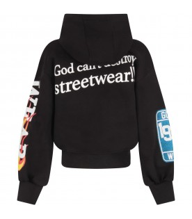 Black sweatshirt for girl with heart