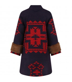 Blue coat for girl with red ethnic designs