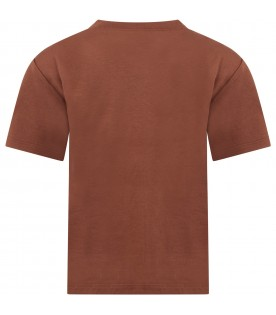 Brown t-shirt for kids with logos