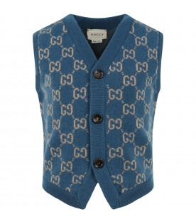 Blue gilet for kids with double GG