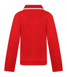 Red cardigan for kids with double GG