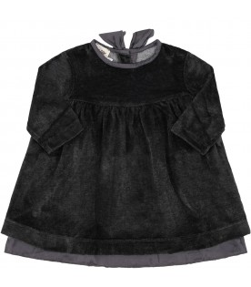 "Grey ""Enza"" dress for babygirl with bow"