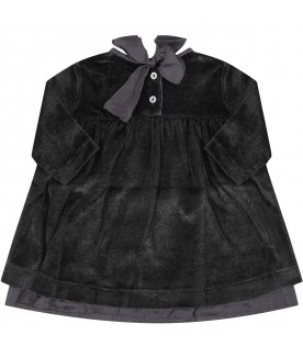 """Grey """"Enza"""" dress for babygirl with bow"""