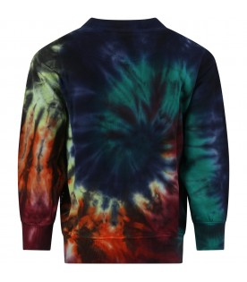 Multicolor sweatshirt for kids with Tie-Dye stamp
