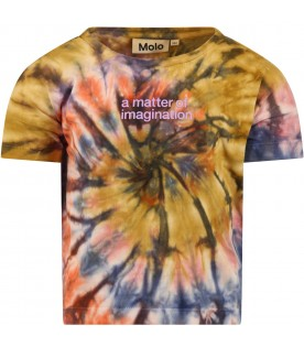 Multicolor shirt for kids with Tie-Dye stamp