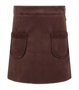 "Brown ""Pesca"" skirt for girl"