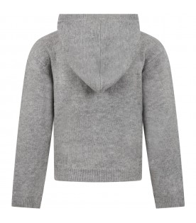 Grey swater for girl with logo