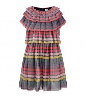 Multicolor dress for girl with stripes