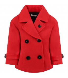 Red coat for girl with cat