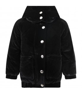 Black jacket for girl with logo