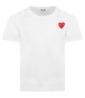 White t-shirt for kids with heart