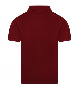 Burgundy polo t-shirt for kids with logo