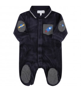 Blue babygrow for babyboy with rocket