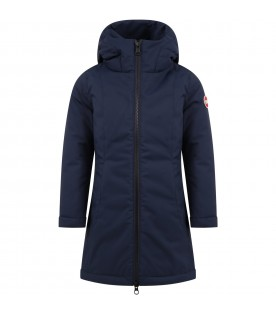 Blue jacket for girl with iconic logo
