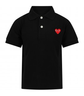 Black polo t-shirt for kids with logo