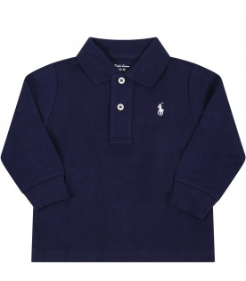 Blue polo shiirt for babyboy with iconic pony