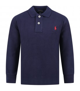 Blue polo shiirt for boy with iconic pony