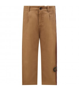 Beige pants for boy with double GG